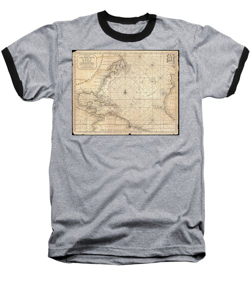 1683 Mortier Map Of North America The West Indies And The Atlantic Ocean  Baseball T-Shirt