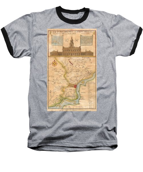 1752  Scull  Heap Map Of Philadelphia And Environs Baseball T-Shirt
