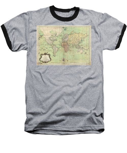 1778 Bellin Nautical Chart Or Map Of The World Baseball T-Shirt