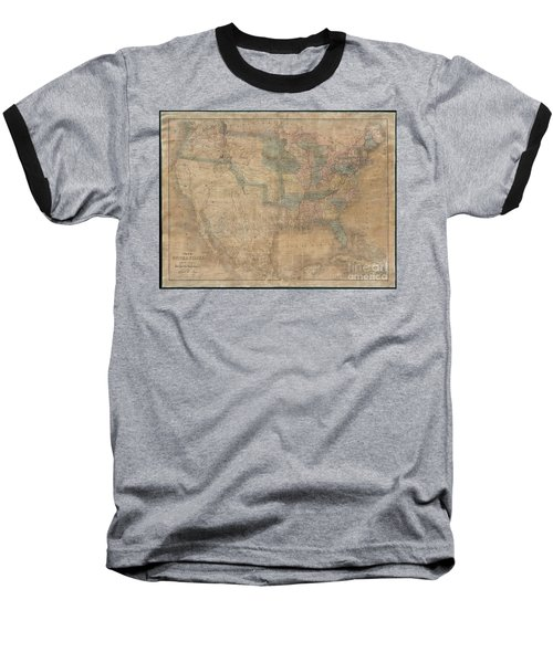 1839 Burr Wall Map Of The United States  Baseball T-Shirt