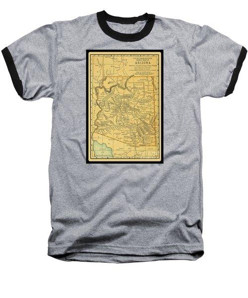 1891 Arizona Map Baseball T-Shirt by Phil Cardamone