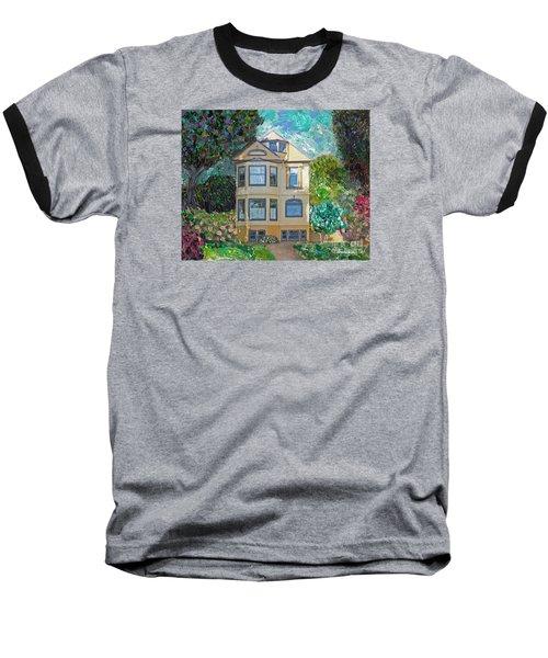 Baseball T-Shirt featuring the mixed media Alameda 1895 Quenn Anne by Linda Weinstock