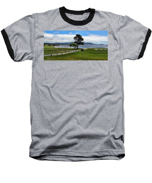 18th At Pebble Beach Panorama Baseball T-Shirt by Judy Vincent