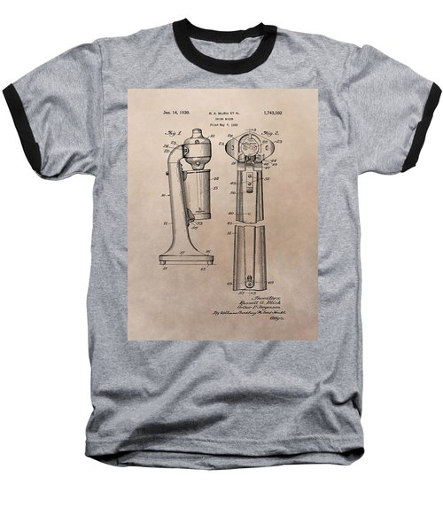 1930 Drink Mixer Patent Baseball T-Shirt by Dan Sproul
