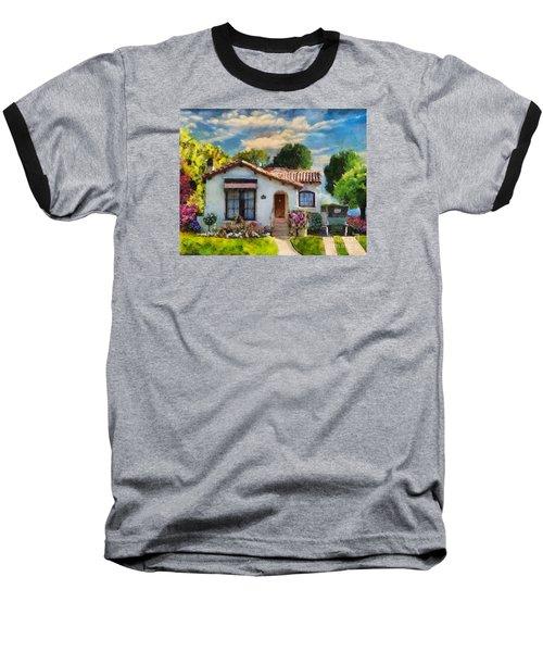 Baseball T-Shirt featuring the mixed media Alameda 1932  Spanish Beauty by Linda Weinstock