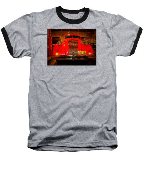Baseball T-Shirt featuring the photograph 1939 World's Fair Fire Engine by MJ Olsen