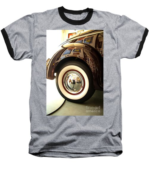 Baseball T-Shirt featuring the photograph Classic Maroon 1940 Ford Rear Fender And Wheel   by Jerry Cowart