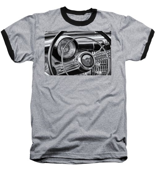 1953 Buick Super Dashboard And Steering Wheel Bw Baseball T-Shirt by Jerry Fornarotto