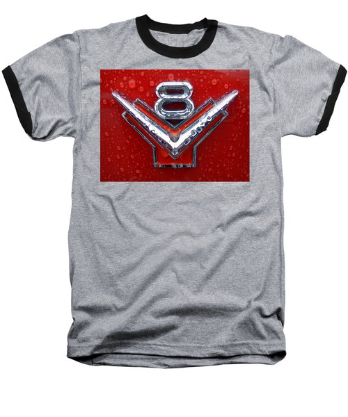 1955 Ford V8 Emblem Baseball T-Shirt by Joseph Skompski
