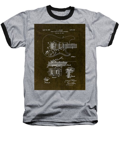 1956 Fender Tremolo Patent Drawing II Baseball T-Shirt by Gary Bodnar