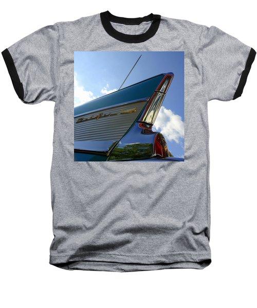 1957 Chevrolet Bel Air Fin Baseball T-Shirt by Joseph Skompski