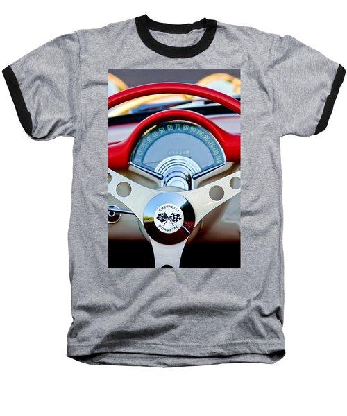 1957 Chevrolet Corvette Convertible Steering Wheel Baseball T-Shirt