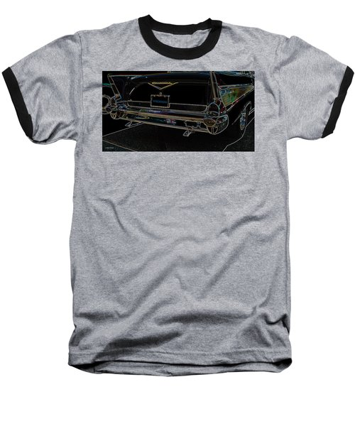 1957 Chevrolet Rear View Art Black_varooom Tag Baseball T-Shirt