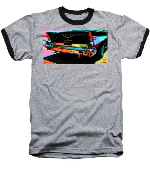 1957 Chevy Art Red Varooom Baseball T-Shirt