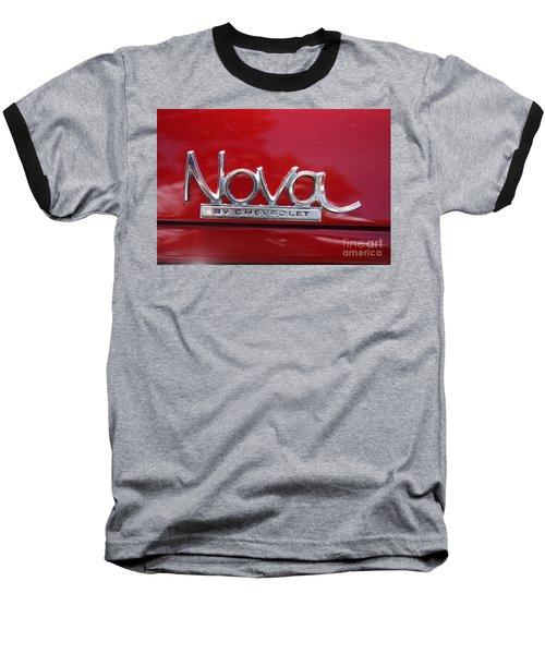 1970 Chevy Nova Logo Baseball T-Shirt by John Telfer