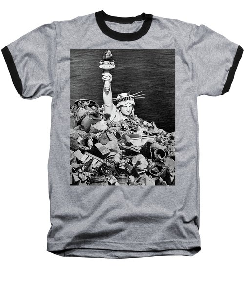 1970s Composite Image Statue Of Liberty Baseball T-Shirt