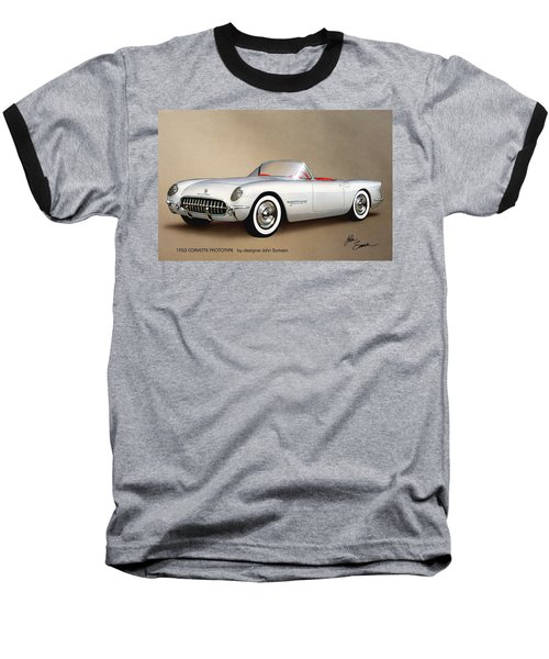1953 Corvette Classic Vintage Sports Car Automotive Art Baseball T-Shirt by John Samsen