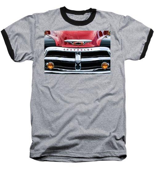 1955 Chevrolet 3100 Pickup Truck Grille Emblem Baseball T-Shirt by Jill Reger
