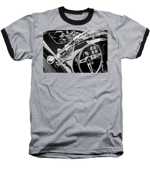 Ac Shelby Cobra Engine - Steering Wheel Baseball T-Shirt by Jill Reger