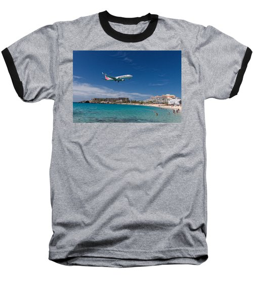 American Airlines At St Maarten Baseball T-Shirt by David Gleeson