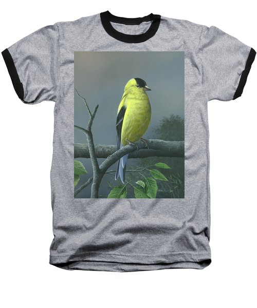 Baseball T-Shirt featuring the painting American Goldfinch by Mike Brown
