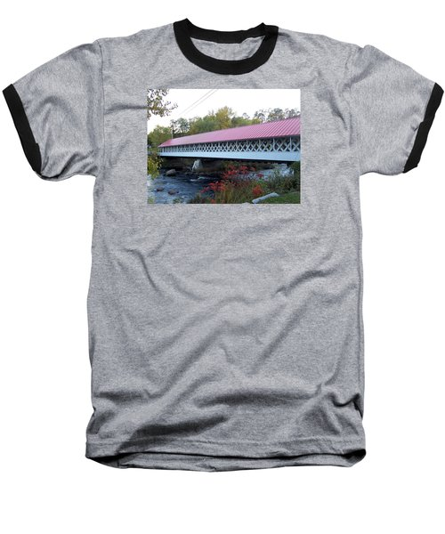 Ashuelot Covered Bridge Baseball T-Shirt by Catherine Gagne