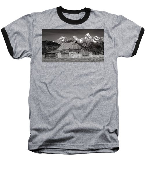 Baseball T-Shirt featuring the photograph Barn And Tetons by Jerry Fornarotto