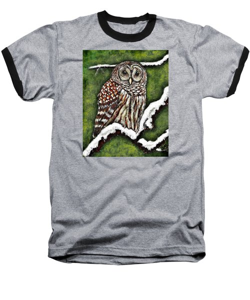 Baseball T-Shirt featuring the painting Barred Owl by VLee Watson