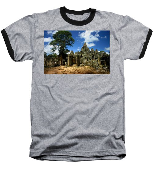 Bayon Temple View From The East Baseball T-Shirt by Joey Agbayani