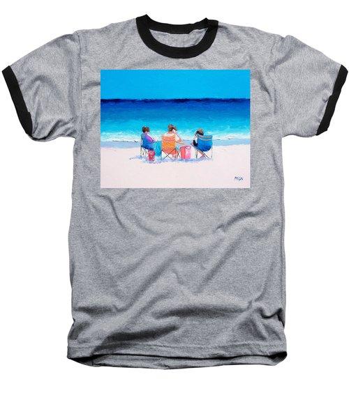 Beach Painting 'girl Friends' By Jan Matson Baseball T-Shirt by Jan Matson