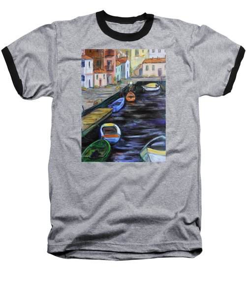 Baseball T-Shirt featuring the painting Boats In Front Of The Buildings IIi by Xueling Zou