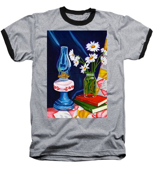 2 Books And A Lamp Baseball T-Shirt by Laura Forde