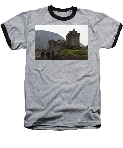 Cartoon - Structure Of The Eilean Donan Castle With A Stone Bridge Baseball T-Shirt