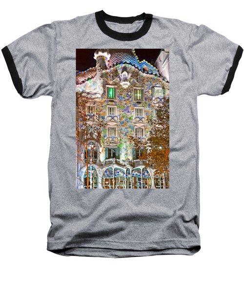 Casa Batllo - Barcelona Baseball T-Shirt by Luciano Mortula