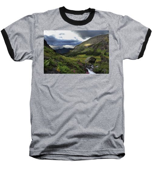 Baseball T-Shirt featuring the photograph Cascade In Lower Ice Lake Basin by Alan Vance Ley