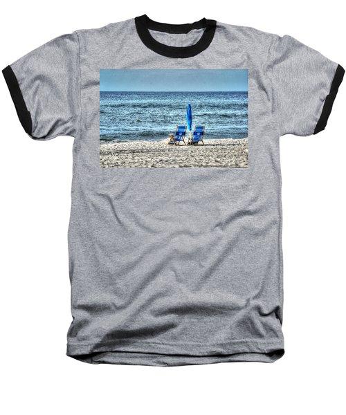2 Chairs And Umbrella Baseball T-Shirt by Michael Thomas