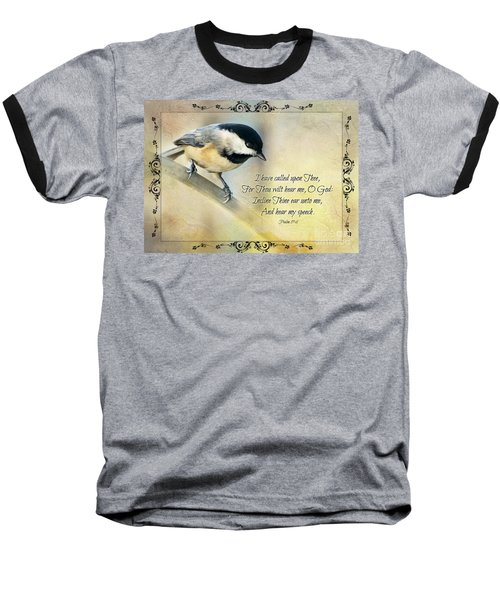 Chickadee With Verse Baseball T-Shirt