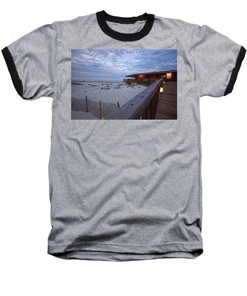 Cloudy Morning At The Sea N Suds Baseball T-Shirt by Michael Thomas