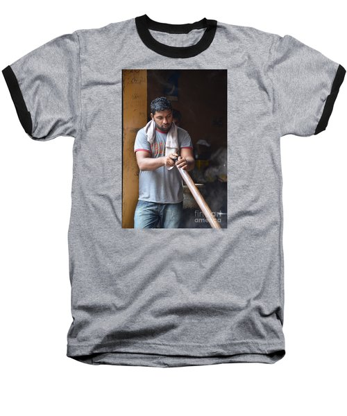 Baseball T-Shirt featuring the photograph Cooking Breakfast Early Morning Lahore Pakistan by Imran Ahmed