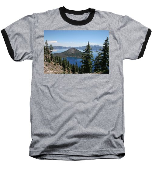 Crater Lake Oregon Baseball T-Shirt by Tom Janca
