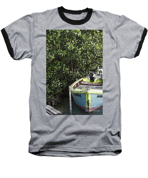Baseball T-Shirt featuring the photograph Docked By The Mangrove Trees by Lilliana Mendez