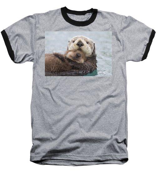 Female Sea Otter Holding Newborn Pup Baseball T-Shirt