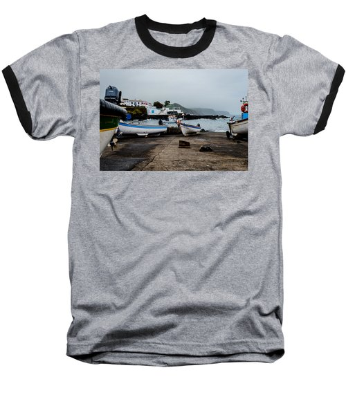 Fishing Boats On Wharf With View Of Houses  Baseball T-Shirt