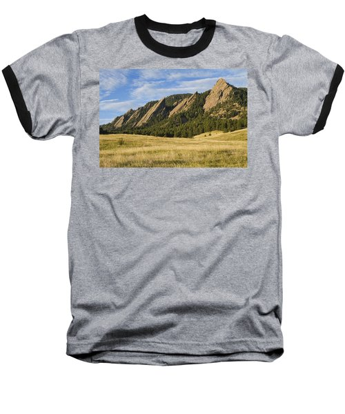 Flatirons With Golden Grass Boulder Colorado Baseball T-Shirt