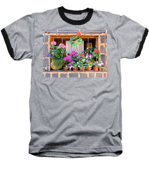 Baseball T-Shirt featuring the photograph Flowers In A Mexican Window by David Perry Lawrence