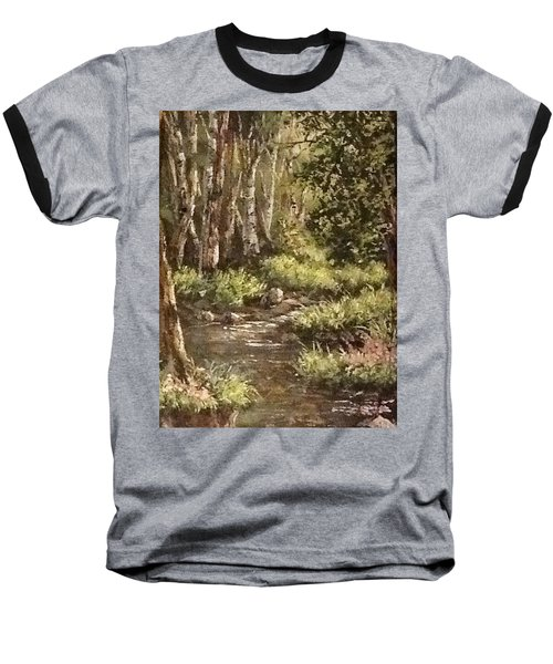 Baseball T-Shirt featuring the painting Forest Stream by Megan Walsh