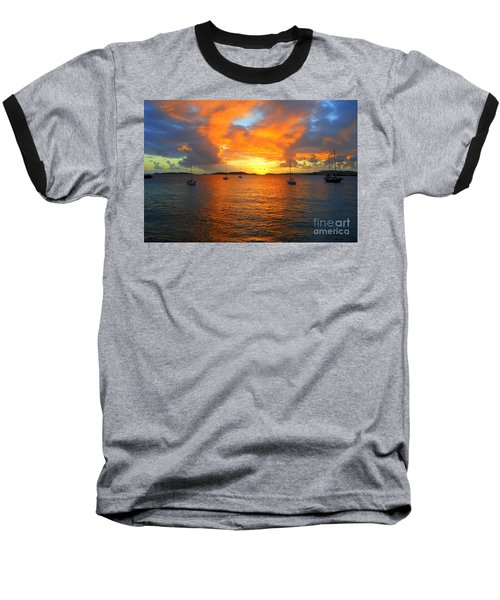 Frank Bay St. John U. S. Virgin Islands Sunset Baseball T-Shirt