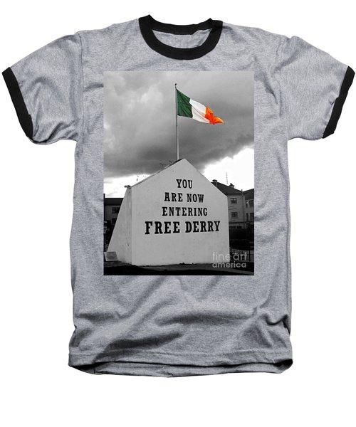 Free Derry Wall Baseball T-Shirt by Nina Ficur Feenan