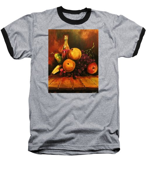 Baseball T-Shirt featuring the painting Fruit And Wine by Al Brown