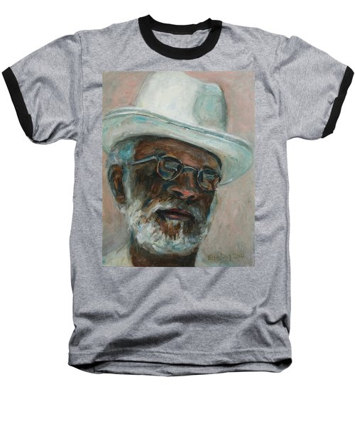 Gray Beard Under White Hat Baseball T-Shirt